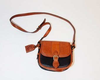 Vintage Black and Brown Leather Crossbody Saddle Bag
