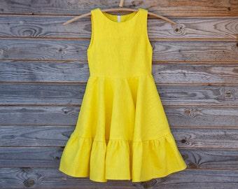 Linen Ruffle Dress, Flower Girl, Rustic Wedding, Bright Yellow Linen, Round Neck, Country Dress, Handmade