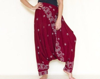 All Around The World...Printed Rayon Harem Pants Red