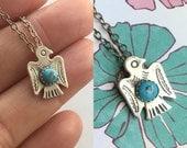 Turquosie Thunderbird Necklace, Turquoise Pendant, Southwestern Necklace