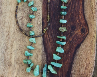 Vintage Statement Turquoise Necklace. Heishi and turquoise, Native