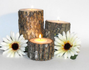 Woodland Wedding Candles ~ 3 Tree Branch Candle holders ~ Holiday ~ rustic Party Decoration ~ Reunion ~ Woodland baby Showers, graduation