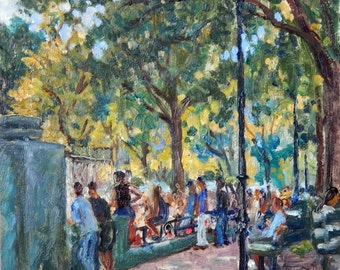 Crowd Watching Baseball, Inwood Hill Park, NYC. Oil Painting Landscape, Small 8x8 Plein Air Impressionist Oil on Panel, Signed Original