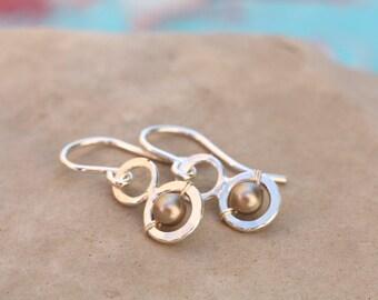 Silver Pearl Dot Earrings