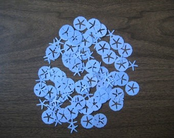 Reclaimed paper confetti - sand dollars and starfish - solid blues