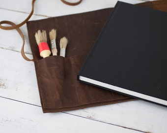 Refillable Artist Sketchbook - Rustic Leather Sketchbook Case