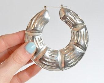 50% OFF SALE / Vintage 1990s HUGE tin hoop earrings