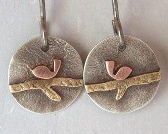 Silver Copper Brass Round Bird on a Branch Earrings