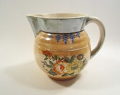 Vintage Lustreware Large Creamer Small Pitcher Flowers Peach Green Made in Japan