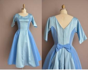 50s blue shark skin full skirt vintage dress / vintage 1950s dress