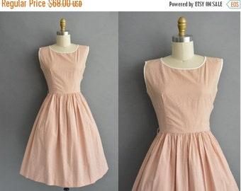 25% off SHOP SALE... vintage 1950s dress / 50s pumpkin pinstripe cotton full skirt vintage dress