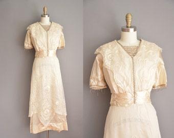 vintage 1910s dress / Edwardian beaded silk lace dress / antique wedding dress