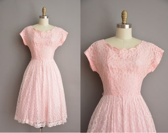 1950s scallop pink lace vintage dress / vintage 1950s dress