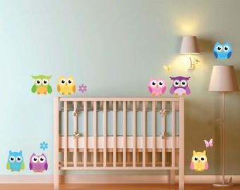 Owl Reusable Fabric Decal Set, Kids Fabric Wall Decals, Owls wall decal, Removable, Reusable, Owl Fabric Decal, Owls, Kids room, Owl Nursery