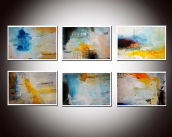 White blue abstract painting, 6 White Blue prints, Set of Abstract Prints,blue Prints, blue painting, blue gold prints, mix and match