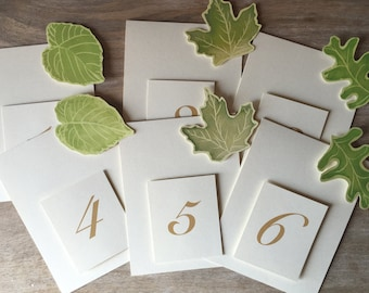 Table Numbers - Green Leaves - Events - Weddings - Holidays - Celebrations - Seating