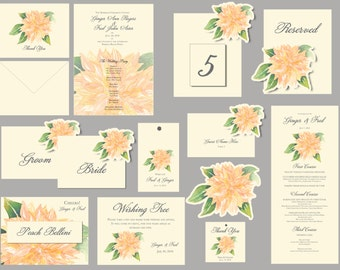 Dahlia flower peach green  Wedding - Tags - Place cards - escort cards, events, weddings, decorations, custom paper goods personalized