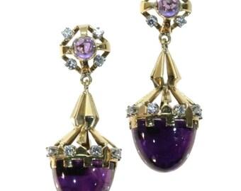 Vintage amethyst earrings - Pain de sucre cabochon amethysts and diamonds Retro dangle earrings