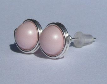 Large Pastel Pink Pearl Stud Earrings (10mm), Swarovski Pearl Stud Earrings, Wire Wrapped Sterling Silver Stud Earrings, Pale Pink Studs