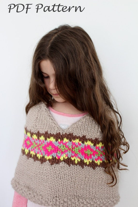 Knitted Throws Free Patterns : KNITTING PATTERN Fair Isle Capelet toddler child teen and