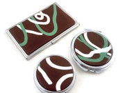 Colorful cardcase set with pillbox and compact mirror