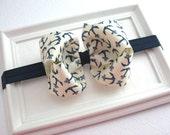 Nautical Baby Bow Headband, Navy Blue and Ivory Hair Bow, Baby Headband, Anchor Hair Bow