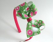 Pink and Green Girls Headband ~ Big Girls Headband ~ Large Bow Headband ~ Bow on Hard Headband ~ Plastic Headband