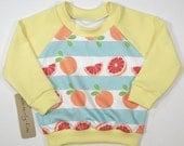 Fresh Fruit | Organic Kids' & Babies Raglan | Hand Made | Citrus | Grapefruit | Unisex Baby Sweater | Toddler Long Sleeve | Hipster Tee