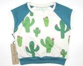 Cactus Piñatas | Organic Kids & Babies Raglan | Teal | Green | Hand Made | Toddler Cap Sleeve | Girls | Baby Short Sleeve | Hipster Top