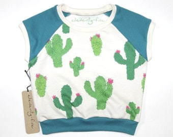Cactus Piñatas | Organic Kids & Babies Raglan | Teal | Green | Hand Made | Toddler Cap Sleeve | Girls | Baby Short Sleeve | Hipster Top