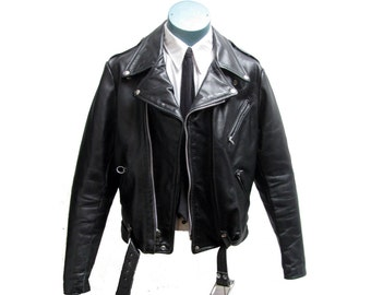 Vintage Brooks Motorcycle Jacket Mens Preowned Black Leather Punk Biker Jckt Mns Size 42 Made In The USA
