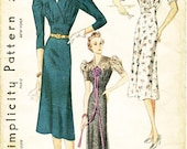 Vintage 1930s Dress Pattern - Simplicity 2931 - Misses' Day or Evening Length Dress in Two Variations - SZ 12/Bust 30