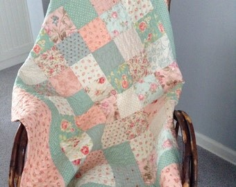 QUILTED  LAP SIZE Quilt, Shabby Chic,  Pastel  Pinks Teals Creams Pieced Back, Charm Pack Squares, Cottage Chic, Traditional Squares