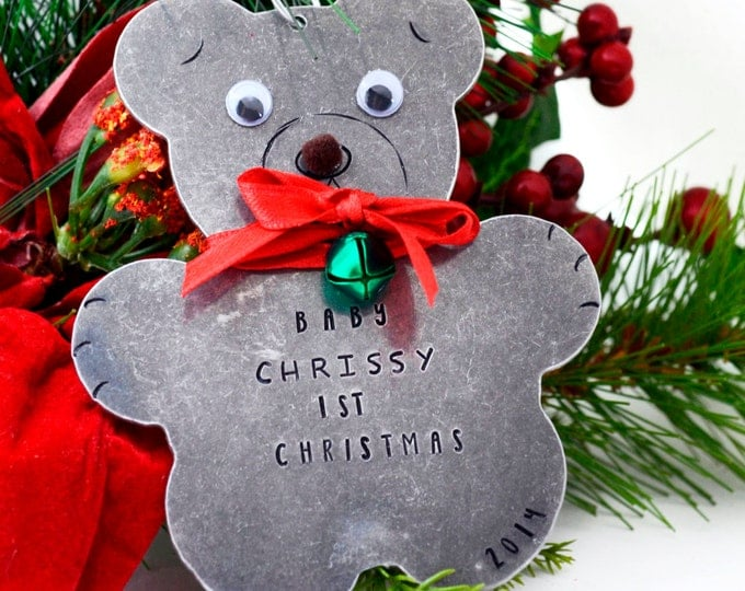 Personalized Teddy Bear Christmas Ornament, Baby's First Christmas Ornament, Metal Christmas Ornament, Hand stamped