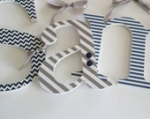 Nursery Wall Letters for Baby Boy, Navy and Grey Theme, Hanging Name Sign, Chevron, Stripes, Custom Decor