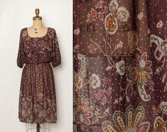 vintage 1970s sheer print dress
