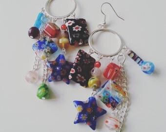 Dangle, Mix colour, Hippie, Bohemian, millefiori, glass, chandelier, long,earrings, by NewellsJewels on etsy