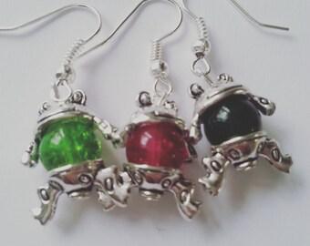 FROG, earrings, silver frog, frog earrings, fun, Choose colour, by NewellsJewels on etsy
