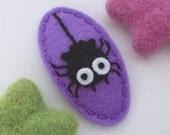 Felt hair clip -No slip -Wool felt -Halloween spider -lavender