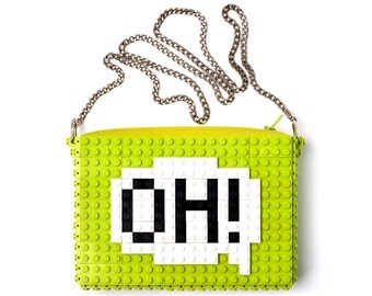 "Lime crossbody purse with ""Oh!"" comic cloud made with LEGO® bricks FREE SHIPPING handbag trending fashion gift party wedding"