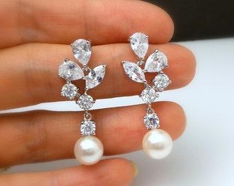 wedding jewelry bridal earrings bridesmaid gift prom party cubic zirconia rhodium earrings multi stone white cream swarovski 8mm round pearl