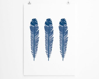 Feathers Poster Print, Tribal Print , Navy Wall Art, Tribal, Oversized Art, Large Wall Art, Tribal Home Decor, Trending Items, Trending Now