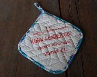 Vintage Pot Holder Advertising Cotton Kitchen Home Potholder Decor Cottage Chic Hotpad