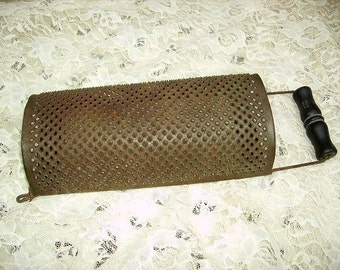 Antique Primitive Grater/Farmhouse Kitchen/Hand Grater/Wooden handle/Punched Grater