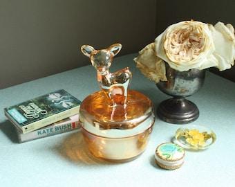 Vintage Iridescent Marigold Glass Fawn Dish