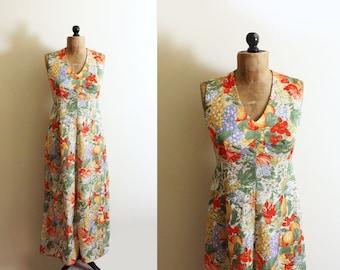 vintage dress maxi 1970s retro fruit print yellow red green floral disco handmade clothing size medium m