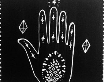 "Magic Hand Series # with Pine Cone Original Painting 5""x5"""