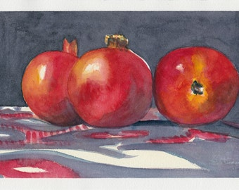 Original watercolor painting - Pomegranates