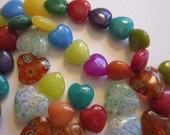 43 heart shaped beads - glass and stone - 12mm to 15mm