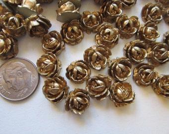 100 vintage resin roses - gold tone resin flowers - vintage Japan supply - 3/8 inch wide